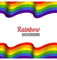 rainbow flag background waving lgbt flag on white vector image