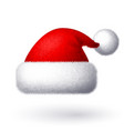 realistic santa hat isolated on white vector image vector image