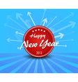 Red New year label on blue background arrows vector image