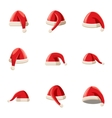 Santa Claus new year hat icons set cartoon style vector image vector image