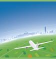santiago skyline flight destination vector image vector image