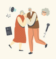 senior couple dancing sparetime elderly people vector image
