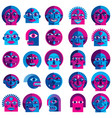 set of bizarre creatures modern art colorful vector image