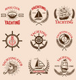 set of yachting emblems vector image vector image