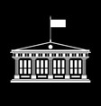 silhouette school house with a flag vector image