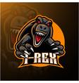 t-rex esport mascot logo design vector image