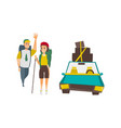 tourists with backpacks car with luggage on top vector image