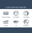 6 pie icons vector image vector image