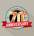 70th Years Anniversary Celebration Design vector image vector image