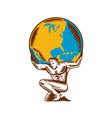 atlas lifting globe kneeling woodcut