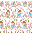 baby boy in the blanket and rainbow with clouds vector image vector image