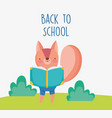 back to school education squirrel reading textbook vector image vector image