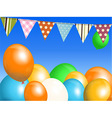 Balloons and bunting over blue sky vector image vector image