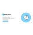 bankruptcy icon banner outline template concept vector image