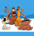 barking or howling dogs cartoon characters group vector image