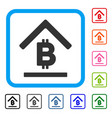 bitcoin bank roof framed icon vector image vector image