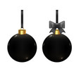 Black realistic christmas balls isolated on white