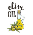 Bottle with olive oil and with stylish lettering vector image vector image
