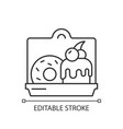 cakes and desserts takeout linear icon vector image