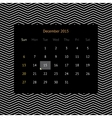 Calendar page for December 2015 vector image