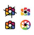 camera shutter lens colorful logo icon vector image vector image