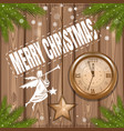 christmas greeting card with angel and clock vector image