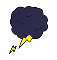 comic cartoon thundercloud symbol vector image vector image