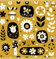 cute flowers mushrooms nature pattern vector image vector image