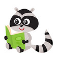 cute little raccoon student character reading an vector image vector image