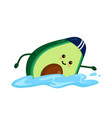 cute smiling happy strong avocado vector image