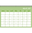 Desk calendar template for month March Week vector image vector image
