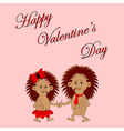 Funny boy and girl with words Happy Valentines Day vector image