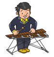 funny musician or xylophone player vector image vector image