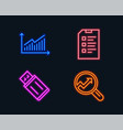 graph checklist and usb flash icons analytics vector image
