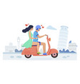 happy couple in love riding motor scooter vector image
