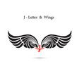 j-letter sign and angel wingsmonogram wing logo vector image vector image