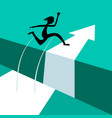 jumping above gap jump over abyss with arrow vector image vector image