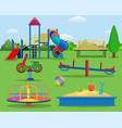 kids playground cartoon concept background vector image vector image