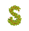 letter s english alphabet made of tree branches vector image