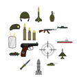 military icons set flat style vector image vector image