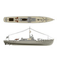 model warship side view and top 3d vector image vector image