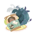 Monster sits at bed and frightened girl vector image vector image