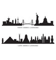 north south and latin america skyline landmarks vector image