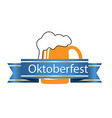oktoberfest blue ribbon beer mug background vector image vector image