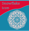 ornate hand writen snowflake icon vector image vector image