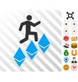 person climb ethereum icon with bonus vector image vector image