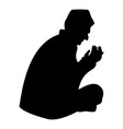 praying muslim icon black color flat style simple vector image