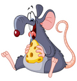 rat eating cheese vector image vector image