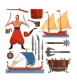 set cossacks objects icons and design vector image
