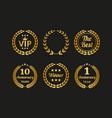 set golden laurel wreaths on black background vector image vector image